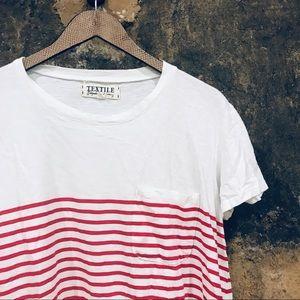 Textile Elizabeth & James red striped slub top